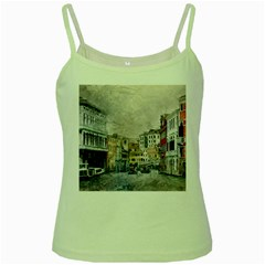 Venice Small Town Watercolor Green Spaghetti Tank