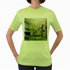 Venice Small Town Watercolor Women s Green T Shirt