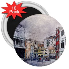 Venice Small Town Watercolor 3  Magnets (10 Pack)