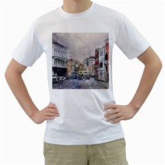 Venice Small Town Watercolor Men s T Shirt (white) (two Sided)