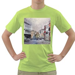 Venice Small Town Watercolor Green T Shirt