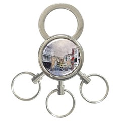 Venice Small Town Watercolor 3 Ring Key Chains