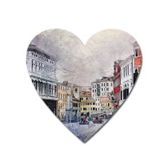 Venice Small Town Watercolor Heart Magnet