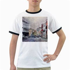 Venice Small Town Watercolor Ringer T Shirts