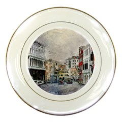 Venice Small Town Watercolor Porcelain Plates