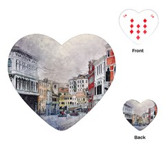 Venice Small Town Watercolor Playing Cards (heart)