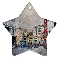 Venice Small Town Watercolor Star Ornament (two Sides)