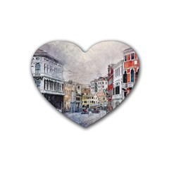 Venice Small Town Watercolor Heart Coaster (4 Pack)