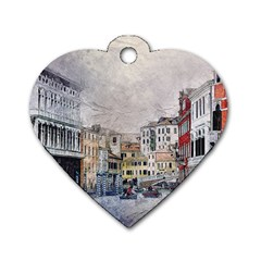 Venice Small Town Watercolor Dog Tag Heart (two Sides)