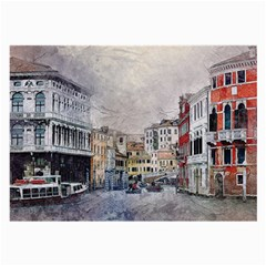 Venice Small Town Watercolor Large Glasses Cloth (2 Side)