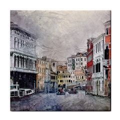 Venice Small Town Watercolor Face Towel