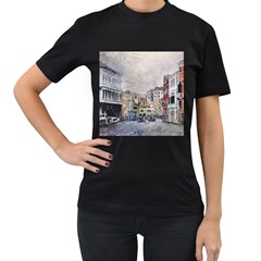Venice Small Town Watercolor Women s T Shirt (black)