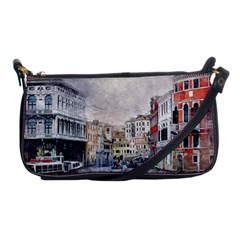 Venice Small Town Watercolor Shoulder Clutch Bags
