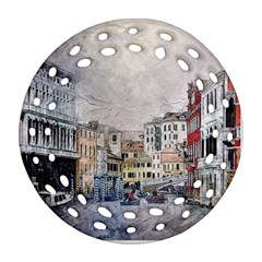 Venice Small Town Watercolor Ornament (round Filigree)