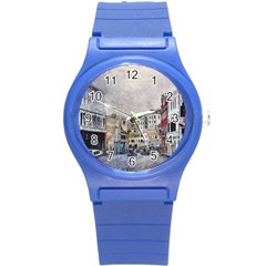 Venice Small Town Watercolor Round Plastic Sport Watch (s)