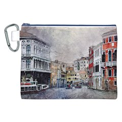 Venice Small Town Watercolor Canvas Cosmetic Bag (xxl)