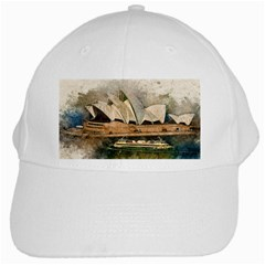 Sydney The Opera House Watercolor White Cap