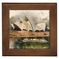 Sydney The Opera House Watercolor Framed Tiles