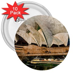 Sydney The Opera House Watercolor 3  Buttons (10 Pack)