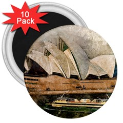 Sydney The Opera House Watercolor 3  Magnets (10 Pack)