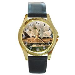 Sydney The Opera House Watercolor Round Gold Metal Watch