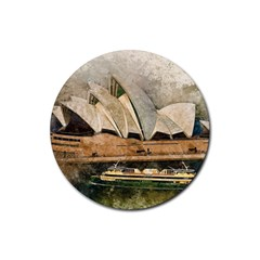 Sydney The Opera House Watercolor Rubber Round Coaster (4 Pack)