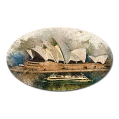Sydney The Opera House Watercolor Oval Magnet