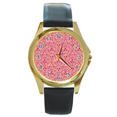 Tribal Pattern Hand Drawing Round Gold Metal Watch