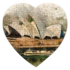 Sydney The Opera House Watercolor Jigsaw Puzzle (heart)