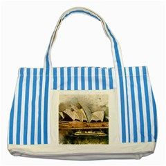 Sydney The Opera House Watercolor Striped Blue Tote Bag