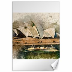 Sydney The Opera House Watercolor Canvas 12  X 18