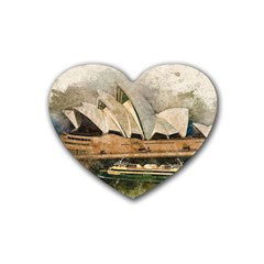 Sydney The Opera House Watercolor Heart Coaster (4 Pack)