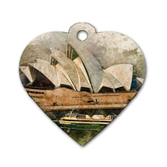 Sydney The Opera House Watercolor Dog Tag Heart (one Side)