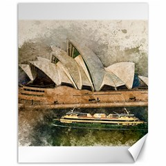 Sydney The Opera House Watercolor Canvas 11  X 14