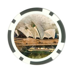Sydney The Opera House Watercolor Poker Chip Card Guard