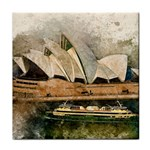 Sydney The Opera House Watercolor Face Towel Front