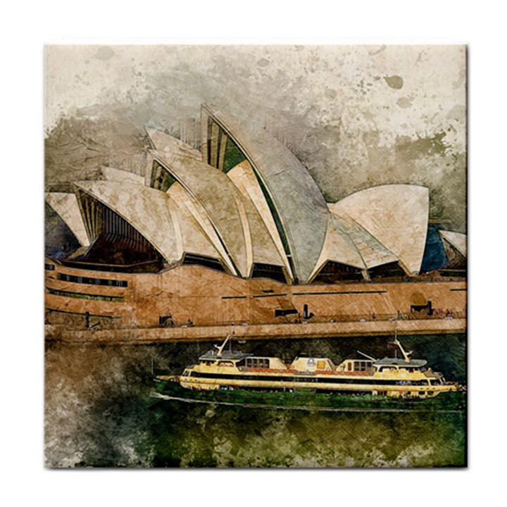 Sydney The Opera House Watercolor Face Towel