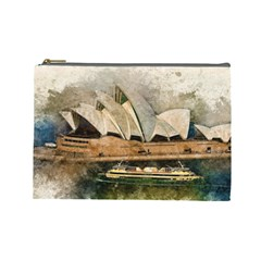 Sydney The Opera House Watercolor Cosmetic Bag (large)