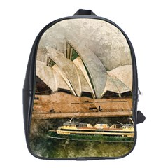 Sydney The Opera House Watercolor School Bag (large)
