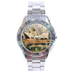 Sydney The Opera House Watercolor Stainless Steel Analogue Watch