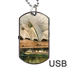 Sydney The Opera House Watercolor Dog Tag Usb Flash (two Sides)