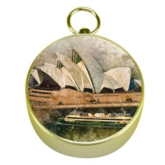 Sydney The Opera House Watercolor Gold Compasses