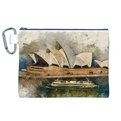 Sydney The Opera House Watercolor Canvas Cosmetic Bag (xl)