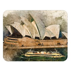 Sydney The Opera House Watercolor Double Sided Flano Blanket (large)