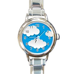 Clouds Sky Background Comic Round Italian Charm Watch
