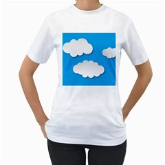 Clouds Sky Background Comic Women s T Shirt (white) (two Sided)
