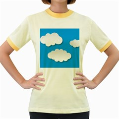 Clouds Sky Background Comic Women s Fitted Ringer T Shirts