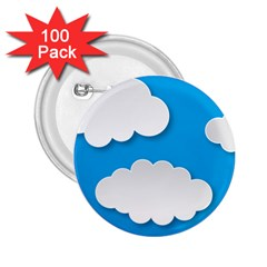Clouds Sky Background Comic 2 25  Buttons (100 Pack)