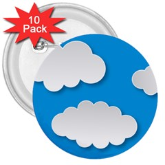 Clouds Sky Background Comic 3  Buttons (10 Pack)