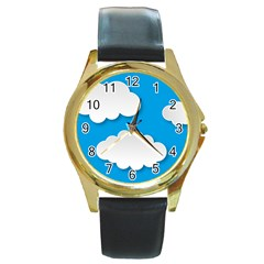 Clouds Sky Background Comic Round Gold Metal Watch